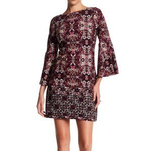 Vince Camuto Floral Midi Dress Bell Sleeves Dress